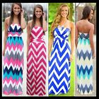 Womens Sexy Strapless Stripe Summer Beach Long Maxi Sundress BOHO Party Dress