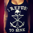 Womens Sleeveless Anchor Print T Shirt Skull Gothic Punk Vest Tank Top Blouse