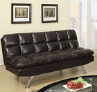 NEW MILENA ESPRESSO BLACK WHITE BURGUNDY BYCAST LEATHER ADJUSTABLE FUTON SOFA