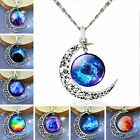 Fashion Silver Plated Necklace Galactic Cosmic Moon Pendants Necklaces Jewelry