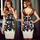 Pencil Sleeveless Women Dress Bodycon Rose Flower Wear To Work Knee Length S0BZ