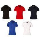 WOMENS LADIES TEXTURED POLO COOLDRY SHIRT SLEEVE SUMMER COOL TEE T SHIRT TOP RED