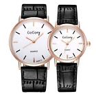 GoGoey Couples Lovers' Watch Leather Band Rhinestone Dial Quartz Movt Waterproof
