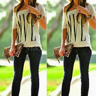 Women Summer Casual Off Shoulder LOVE Letter Print Blouse Short Sleeve Tee Tops