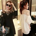 Loose 3/4 Puff Sleeve Floral Lace Patchwork Womens Tops Shirts Blouse Mini Dress