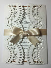 vintage shabby chic LACE WEDDING GATEFOLD INVITATION : 60 colours, day or night