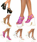Ladies Platform Chunky High Heel Womens Peep Toe Ankle Strap Sandals Shoes Size