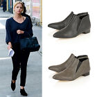 Womens Ladies Chelsea Flat Low Heel Pixie Ankle Boots Pull On Shoes New Size