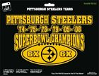 Pittsburgh Steelers NFL Football 6X Super Bowl Champs Gold Vinyl Decal Car Win $15.99 USD on eBay