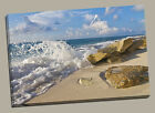 beach canvas print framed picture seaside splashing blue waves golden sand sea
