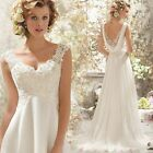 Lace Appliques Wedding Dresses Formal Beach Chiffon Simple Casual Bridal Gowns