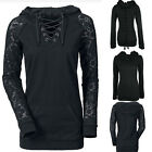 Women Crochet Lace Up Sweatshirt Hoodies Hoody Punk Top T-Shirts Jumper Pullover