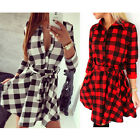 Casual Women Plaid Check Belt Blouse Shirt 3/4 Sleeve Button Down Top Mini Dress