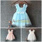 Chiffon Toddler Baby Girls Party Pearl Lace Tulle Gown Fancy Dress Birthday Gift