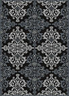 Black Transitional Casual Geometric Area Rug Hearts Waves Leaves Curves Carpet