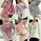 Fluffy Mohair Blend Winter Women's Pullover Knitting Sweater Jumper Knitwear Top