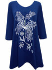 PLUS SIZE Ivans (INP) BUTTERFLY Print Stretch Jersey Tunic Top BLUE 16 to 30/32