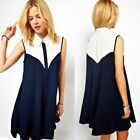 Fabulous Womens Sleeveless Turndown Collar Shirt Dress Mini Color Blocking New