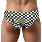 Men Plaid Low Rise Brief Bikini Tanga Swimwear Underwear Bulge Pouch Shorts M-XL