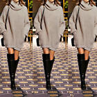 Womens Long Sleeve Ladies Knitted Long Sweater Jumper Winter Dress Top 4 Sizes