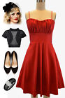 50sStyle RED ROUCHED Bust Bombshell PINUP Holiday PARTY Dress w/Attached Tulle