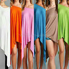 Ladies Batwing Sleeve Loose Cloak Irregular Asymmetric Casual Dress Long Tops
