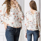 Women's Vintage Long Sleeve Chiffon Floral Print T Shirt Tops Blouse Winter AR