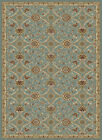 Blue Transitional Casual Floral Area Rug Bordered Curves Petals Rings Carpet