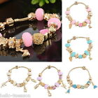 1PC Gold Plated Bangle European Charm Beads Bracelet Womens Fashion Chic 19cm