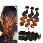 3 Bundles Body Wave Human Hair ombre Weft with 1pc Body Wave Lace Closure
