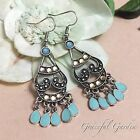 ER2949 Graceful Garden Antique Silver Tone India Tribal Chandelier Earrings