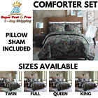 Comforter Pillow Sham Set Camouflage Mountain Lodge Home Bedding Full Queen King