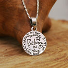 "925 Sterling Silver "" Believe in yourself ""Pendnat Necklace Handcraft w Gift Box"