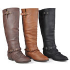 Journee Collection Womens Wide-calf Knee-High Buckle-Strap Riding Boots