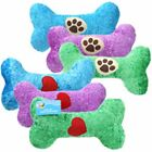 "PLUSH DOG BONE WITH SQUEAKER ASSORTED COLORS 10"" DOG TOY"