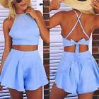 Women Fashion Sleeveless Sexy 2 Pieces Set Party Dress Outfit Bustier Tops+Pants
