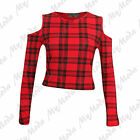 Ladies Womens Long Sleeve Shoulder Cut Out TartanArmyPolka Dot Print Top 8 14