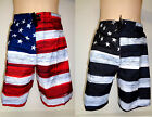 Boys Old Glory Patriotic Swim Trunk American Flag Swimwear Shorts USA Swimtrunk