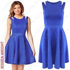 New Ladies Blue Strap Top Swing Dress Women Midi Skater Celeb Look Skirt Dresses