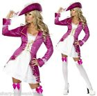 Ladies Sexy Fever Pink Pirate Princess Party Fancy Dress Costume Outfit UK 4-18