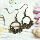 ER2976 Graceful Garden Vintage Style Bronze Tone Rhinestone Wreath Earrings