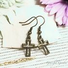 ER2927 Graceful Garden Vintage Style Bronze Tone Voided Cross Charm Earrings