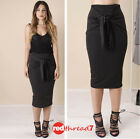 High Waist Midi Skirt Black Front Knot Tie Stretch Straight Work Party Size 6-12