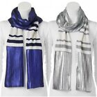 JUICY COUTURE Metallic Striped Oblong Scarf Navy Sea or Silver Gray YOU PICK new