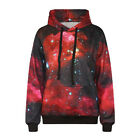New Women Men Galaxy Print Long Sleeve Red Hooded Sweatshirt Pocket Hoodies Top