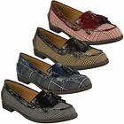 WOMENS LADIES FLAT TASSEL LOAFERS BROGUES SHOES TARTAN CHECK SCHOOL OFFICE SIZE