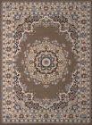 Brown Traditional-European Medallion Area Rug Circles Bordered Flowers Carpet