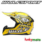 WULFSPORT CUB MX FLITE-XTRA YELLOW WHITE CHEAP MOTOCROSS ECE HELMET ADD GOGGLE
