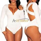 Women Sexy V Neck Long Sleeve Bodysuit Bodycon Bandage Jumpsuit Short Romper Top