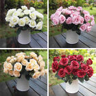 12 Head Retro Artificial Rose Silk Flowers Leaf Flowers Wedding Garden Decor Art